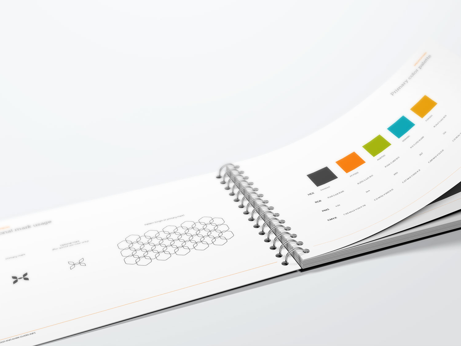A HaptX book that has been opened to a page showing color blocks.